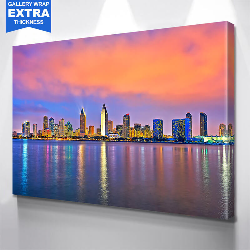 San Diego Skyline Bright  Wall Art Canvas Art