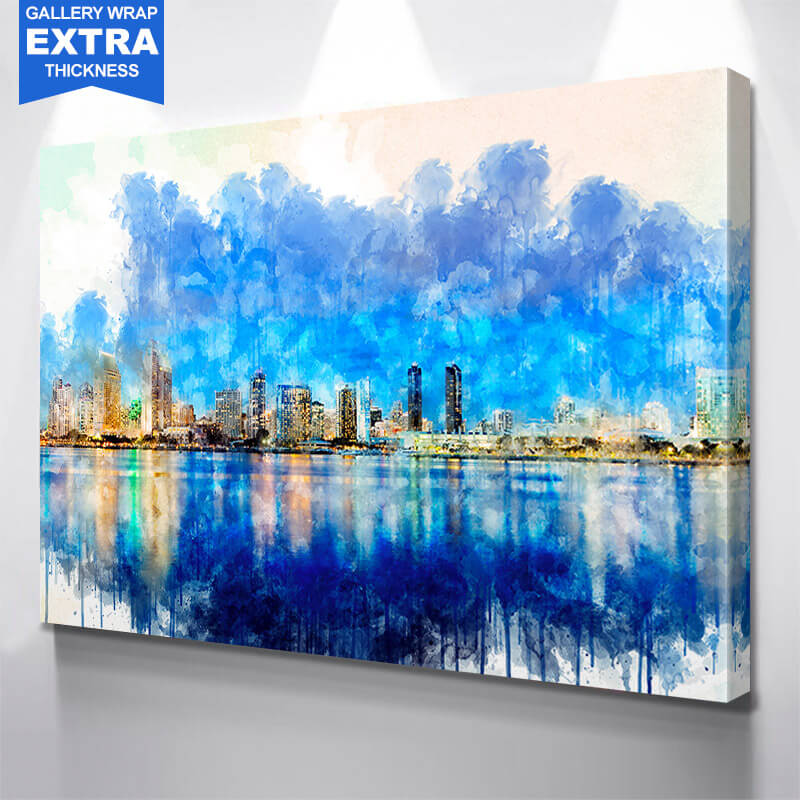 San Diego Watercolor Painting Wall Art Canvas Art