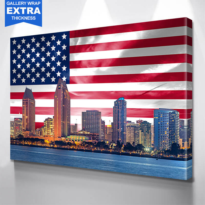 San Diego Skyline American Flag Wall Art Canvas Art