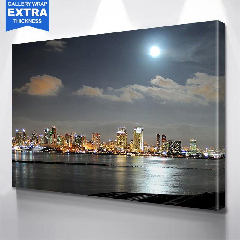 San Diego Night Moon Skyline Wall Art Canvas Art