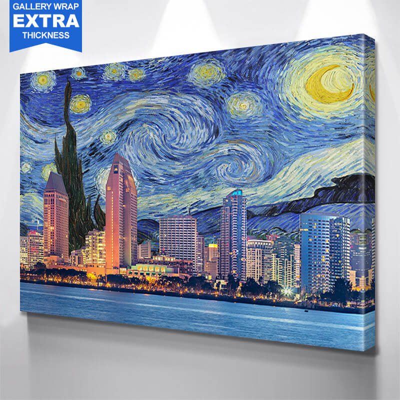 San Diego Starry Night  Wall Art Canvas Art
