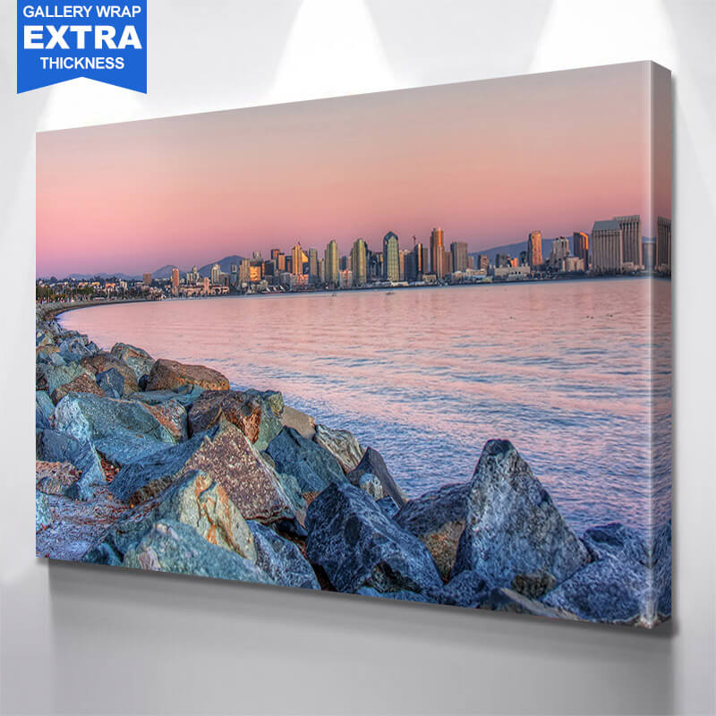 San Diego Rocks Dusk Ocean Skyline Wall Art Canvas Art