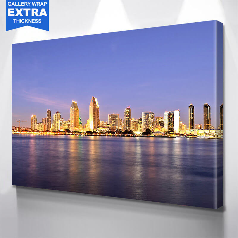 San Diego Gold Skyline Wall Art Canvas Art