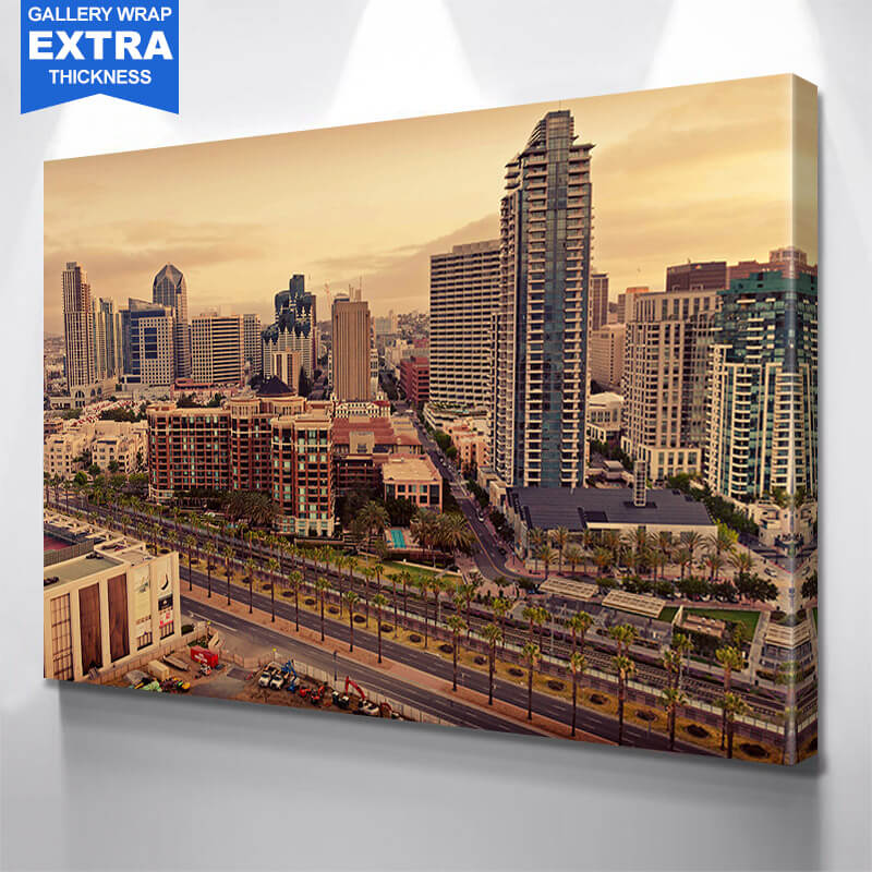 San Diego Yellow Sky Downtown  Wall Art Canvas Art