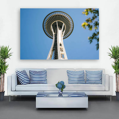 Space Needle Seattle From Below Wall Art Canvas Art