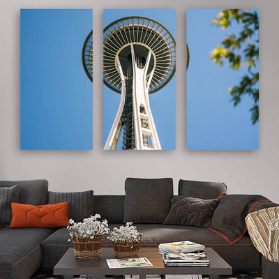 Space Needle Seattle From Below Wall Art Multi Panel Canvas Wall Art
