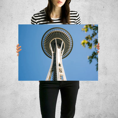 Space Needle Seattle From Below Wall Art High Quality Print Wall Art