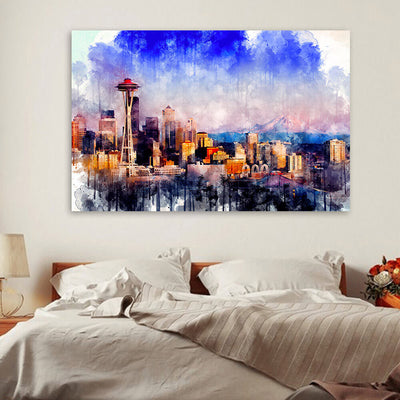Seattle Skyline Watercolor  Wall Art Canvas Art