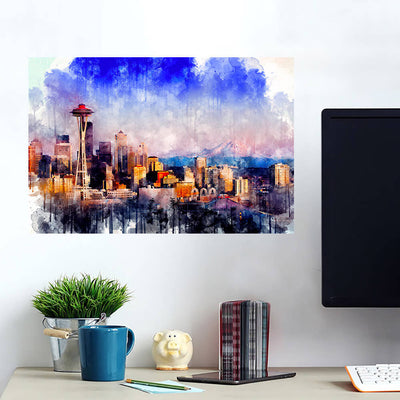 Seattle Skyline Watercolor  Wall Art Wall Decal Wall Art