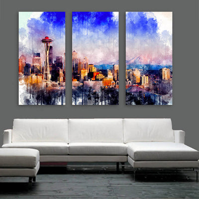 Seattle Skyline Watercolor  Wall Art Multi Panel Canvas Wall Art
