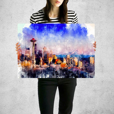 Seattle Skyline Watercolor  Wall Art High Quality Print Wall Art