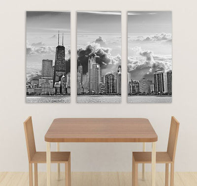 "Zapwalls Canvas 3 Piece Canvas 54"" x 36"" Cloudy Chicago Skyline Canvas"