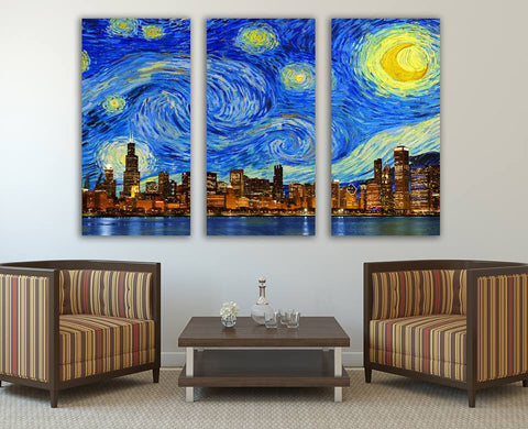 "Zapwalls Canvas 3 Piece Canvas 54"" x 36"" Starry Night Chicago Skyline Canvas"