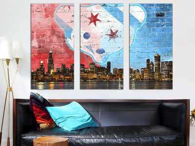 "Zapwalls Canvas 3 Piece Canvas 54"" x 36"" Waveland Chicago Skyline Canvas"