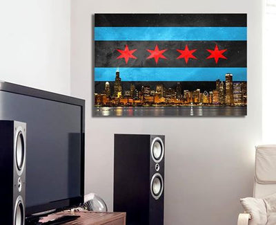 "Zapwalls Canvas 36"" x 24"" Black Chicago Flag Canvas"