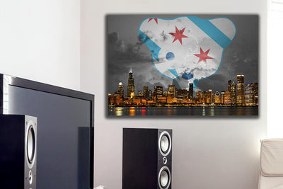 "Zapwalls Canvas 36"" x 24"" Chicago Stormy Northside Canvas"