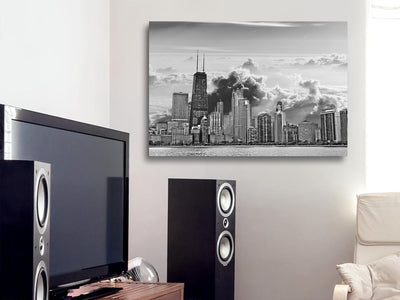 "Zapwalls Canvas 36"" x 24"" Cloudy Chicago Skyline Canvas"