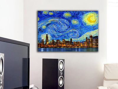 "Zapwalls Canvas 36"" x 24"" Starry Night Chicago Skyline Canvas"