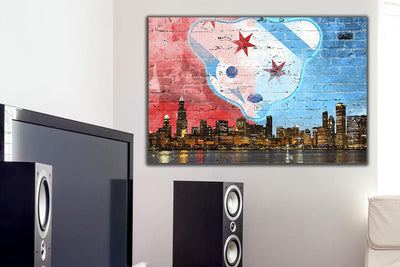 "Zapwalls Canvas 36"" x 24"" Waveland Chicago Skyline Canvas"