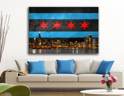 "Zapwalls Canvas 60"" x 40"" Black Chicago Flag Canvas"