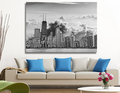"Zapwalls Canvas 60"" x 40"" Cloudy Chicago Skyline Canvas"