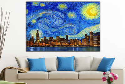 "Zapwalls Canvas 60"" x 40"" Starry Night Chicago Skyline Canvas"