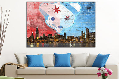 "Zapwalls Canvas 60"" x 40"" Waveland Chicago Skyline Canvas"