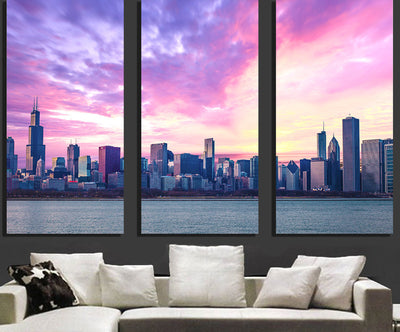 Zapwalls Canvas Amazing Chicago Cloudy Skyline Canvas