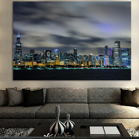 Zapwalls Canvas AMAZING CHICAGO SKYLINE BLUE GLOW Canvas