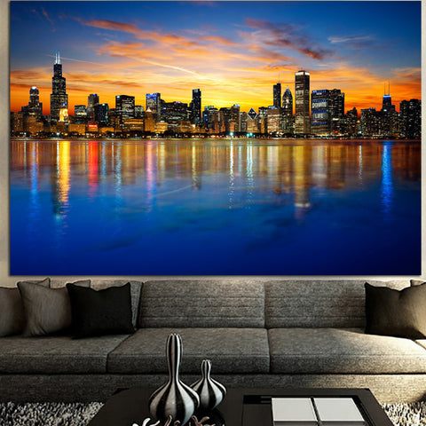 Zapwalls Canvas AMAZING COLORFUL CHICAGO SKYLINE CANVAS
