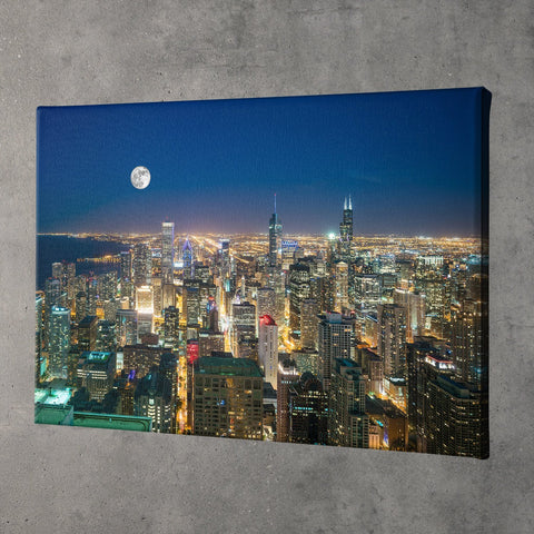 Zapwalls Canvas Arial Moon Chicago Canvas