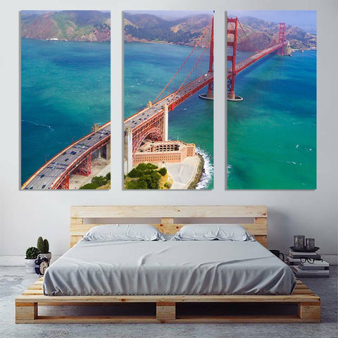 Zapwalls Canvas Arial Sunny Daytime San Francisco Golden Gate Bridge Canvas