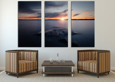 Zapwalls Canvas Beautiful Sunset Lakeside Nature Canvas Photography Wall Art