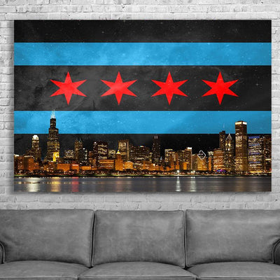 Zapwalls Canvas Black Chicago Flag Canvas