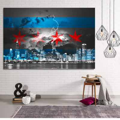 Zapwalls Canvas Black & White Stormy Chicago Flag Skyline Canvas