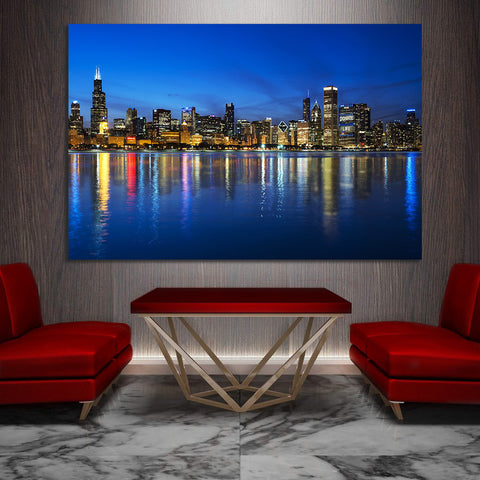 Zapwalls Canvas Blue Chicago Glow Skyline Canvas