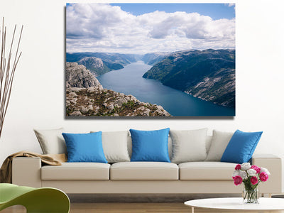 Zapwalls Canvas Blue River Canyon Hills Nature Canvas Photography Wall Art