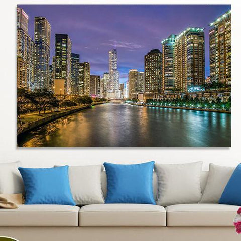 Zapwalls Canvas Bright Chicago River Skyline Canvas