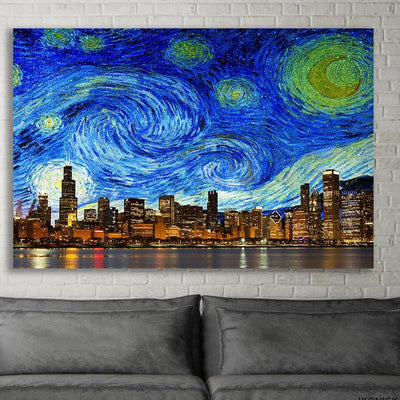 Zapwalls Canvas Bright Starry Chicago Skyline Stars Canvas