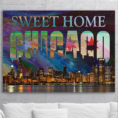 Zapwalls Canvas Bright Sweet Home Chicago Skyline Abstract Canvas