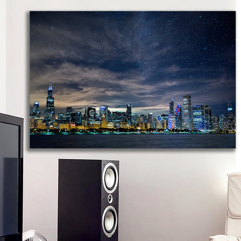 Zapwalls Canvas Brilliant Chicago Glow Skyline Canvas