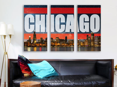 Zapwalls Canvas Chicago Bright Orange Skyline Stars Canvas