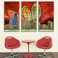 Zapwalls Canvas Chicago Feather Canvas Skyline Canvas