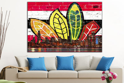 Zapwalls Canvas Chicago Feather Red & Black Canvas