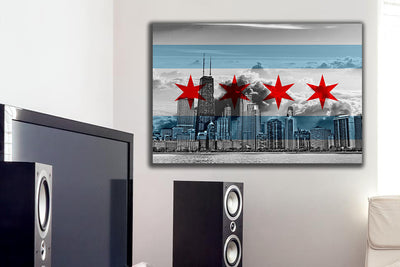 Zapwalls Canvas Chicago Flag Cloudy Skyline Canvas