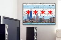 Zapwalls Canvas Chicago Flag Skyline Canvas