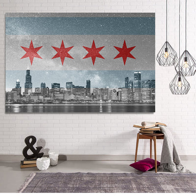 Zapwalls Canvas Chicago Flag Skyline Stars Canvas