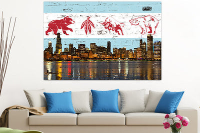 Zapwalls Canvas Chicago Greatest Flag Skyline Canvas