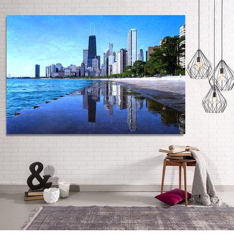 Zapwalls Canvas Chicago Puddle Mirror Skyline Canvas