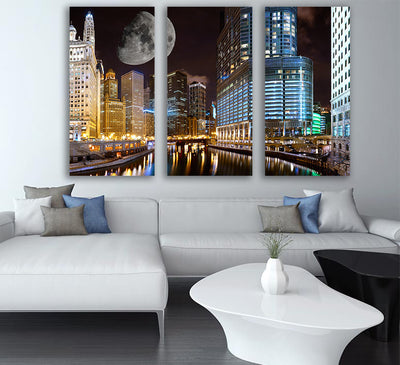 Zapwalls Canvas Chicago Riverwalk Full Moon Canvas